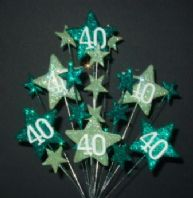 Star age 40th birthday cake topper decoration in shades of green - free postage